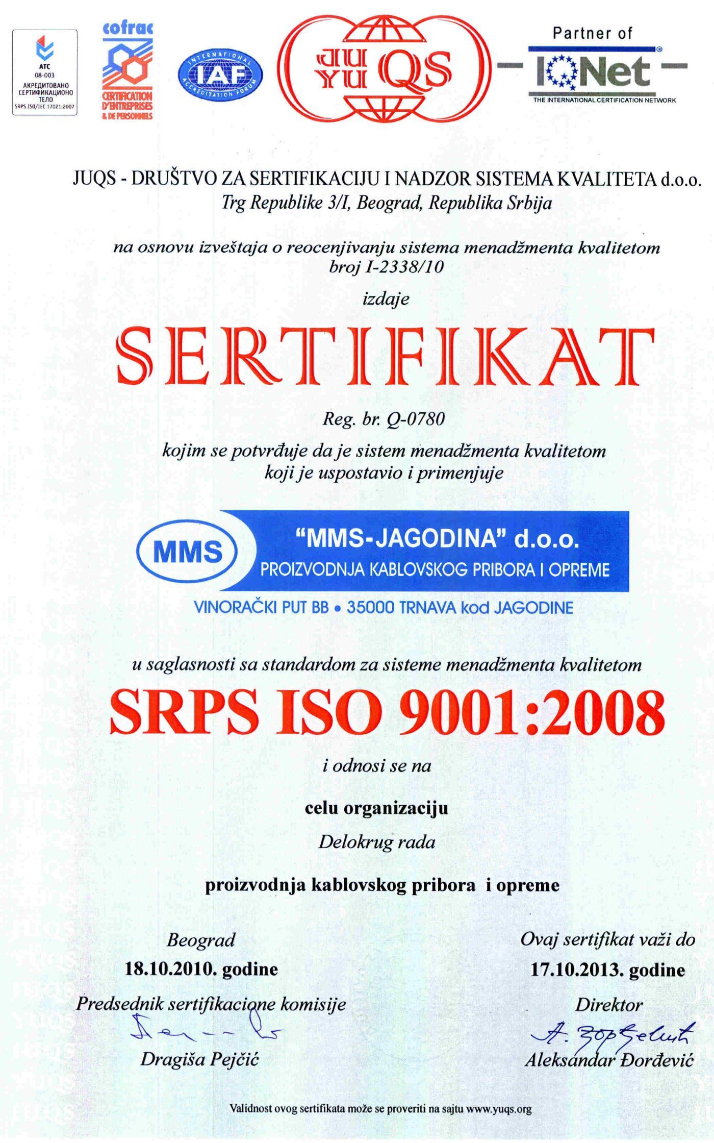 ISO sertifikat